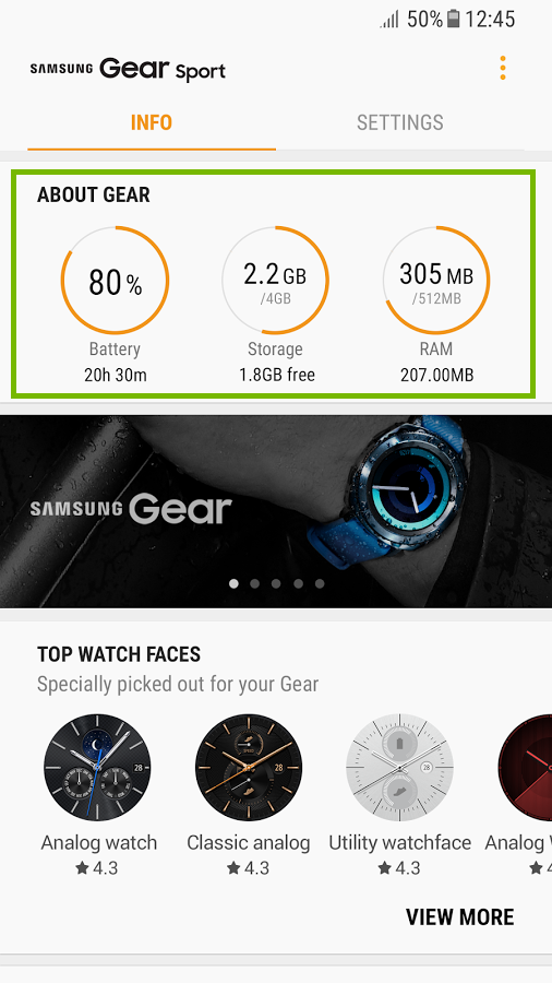 screenshot of Samsung Gear app with about gear section highlighted