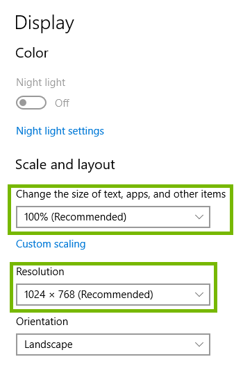 display settings with scale and resolution highlighted