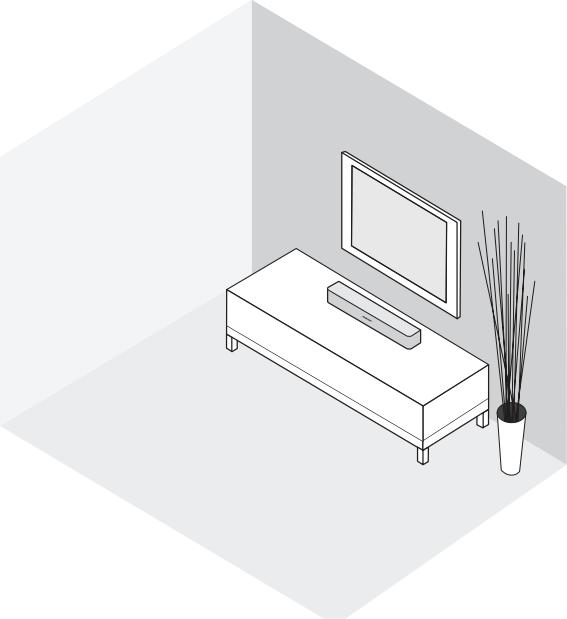 Diagram of soundbar underneath television