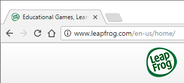 LeapFrog website URL being typed into a web browser's address bar.