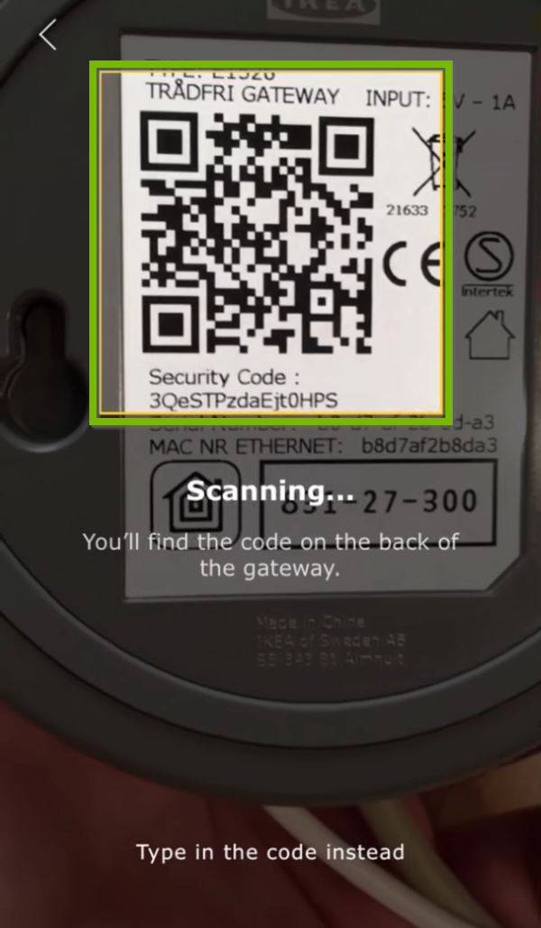 Code scanning area highlighted in Ikea Tradfri app.