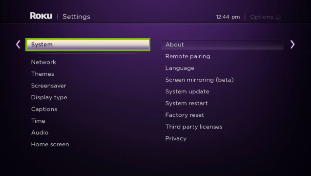 Roku TV menu with System option highlighted.