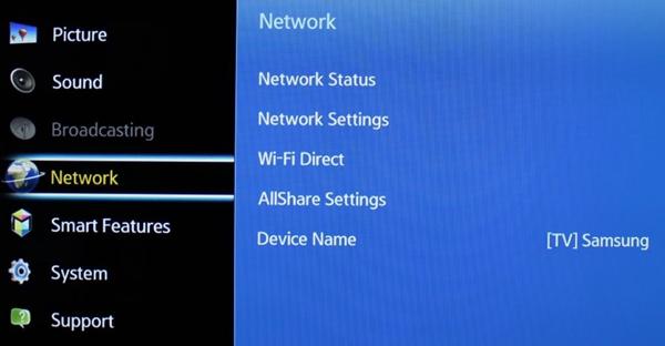 Samsung network menu