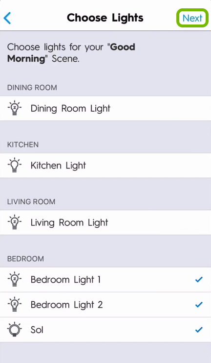 Next option highlighted in lights selection screen of C by GE app.