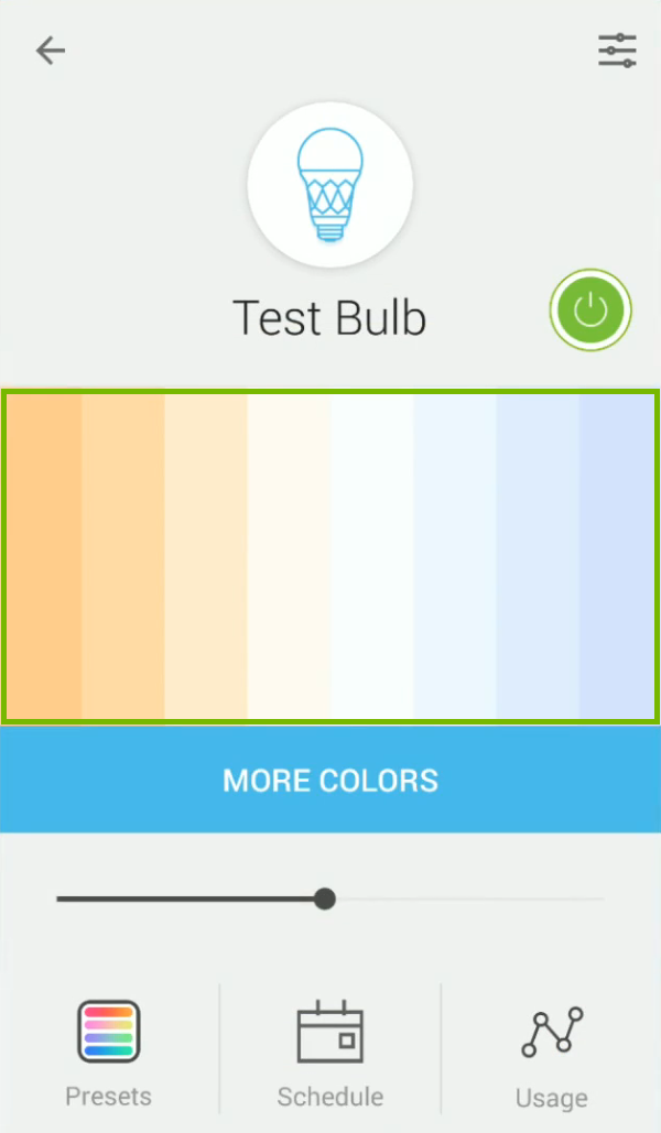 Color picker highlighted in Kasa app.