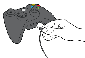 Xbox controller with headset connected.