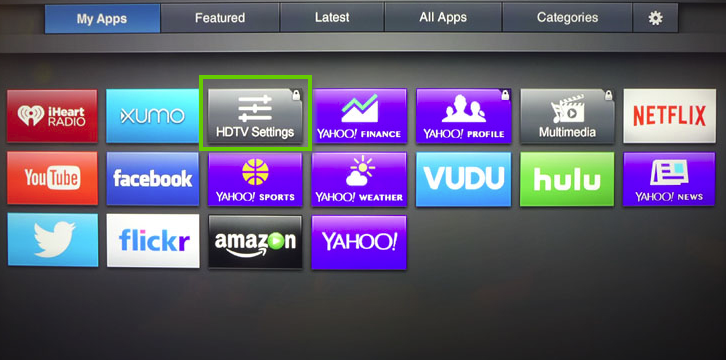 Vizio tv home menu showing HDTV settings highlighted.