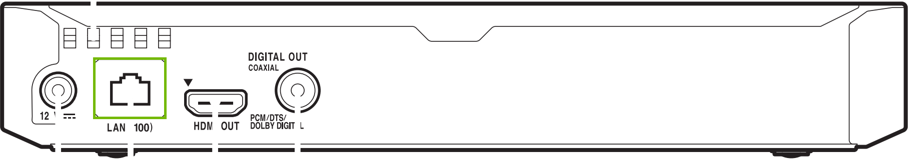 diagram of back of blu-ray player with LAN port highlighted