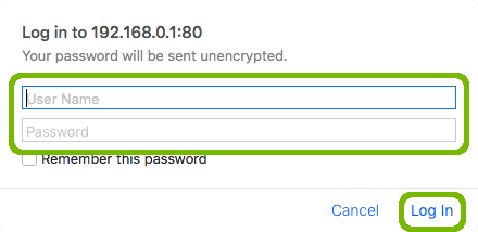 Router login with username, password, and log in highlighted.