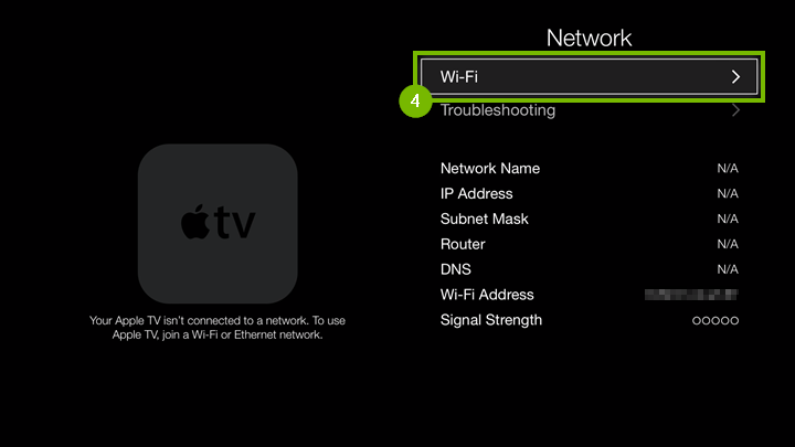Network settings screen with Wi-Fi option highlighted.