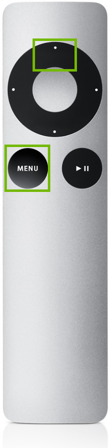 Apple TV remote control, highlighting the menu and up directional buttons.