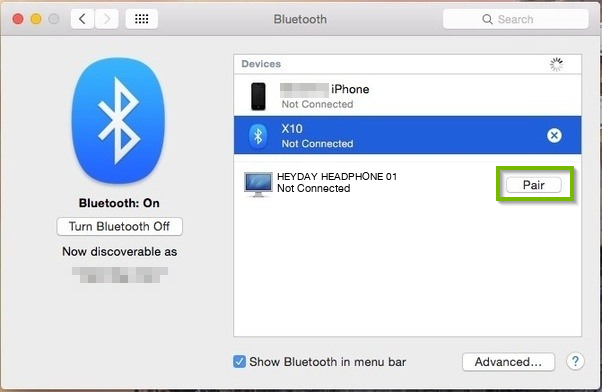 Bluetooth settings with Pair button highlighted.