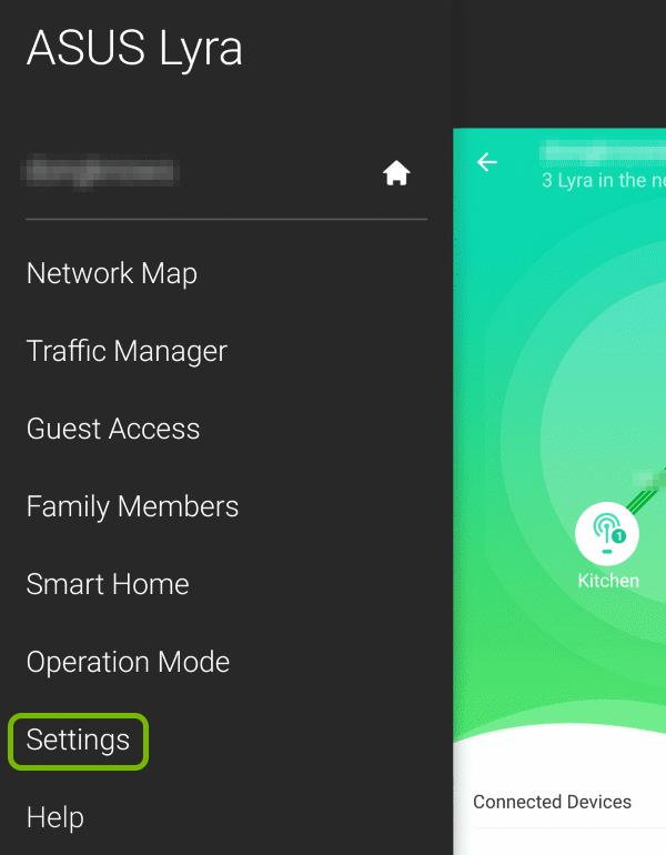 Settings option highlighted in menu of ASUS Lyra app.