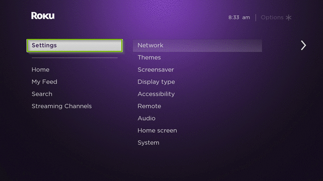 Roku TV menu with the settings and network options highlighted.