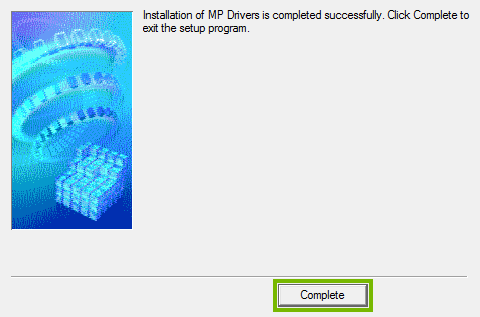 Printer software setup completion screen.