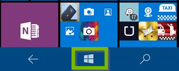 Screenshot of Windows phone with start menu highlighted