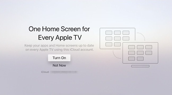 One home screen toggle during Apple TV setup.