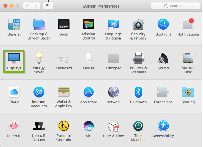 System Preferences with Displays highlighted