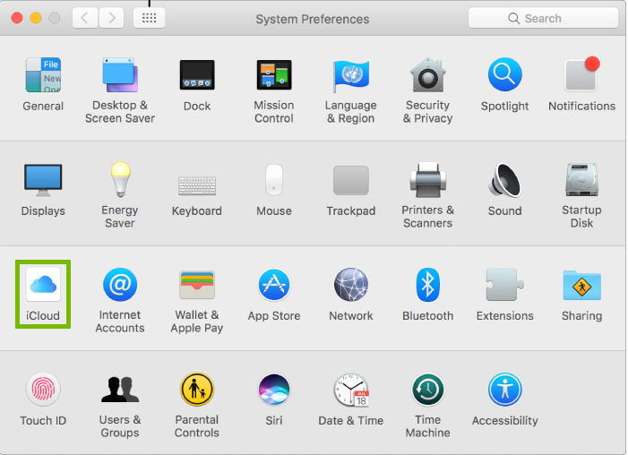 System Preferences with iCloud highlighted