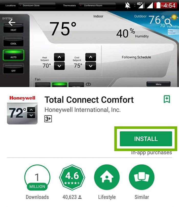 Total Connect Comfort app with Install button selected. Screenshot.
