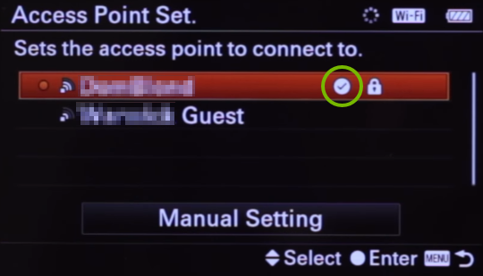 Checkmark highlighted on wireless networks list screen