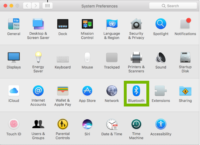 Screenshot of System Preferences with Bluetooth highlighted
