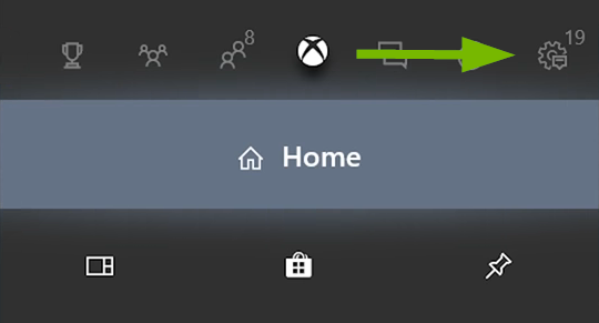 System icon pointed out in Xbox One menu.