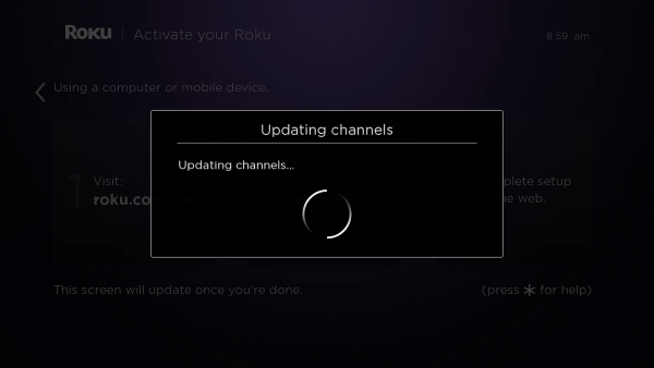 Channels updating on Roku after activation.