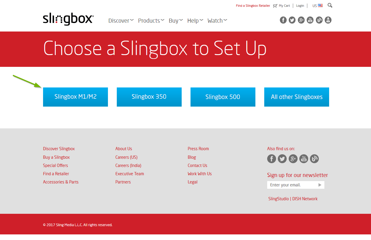 Slingbox setup website, Slingbox M1/M2 highlighted