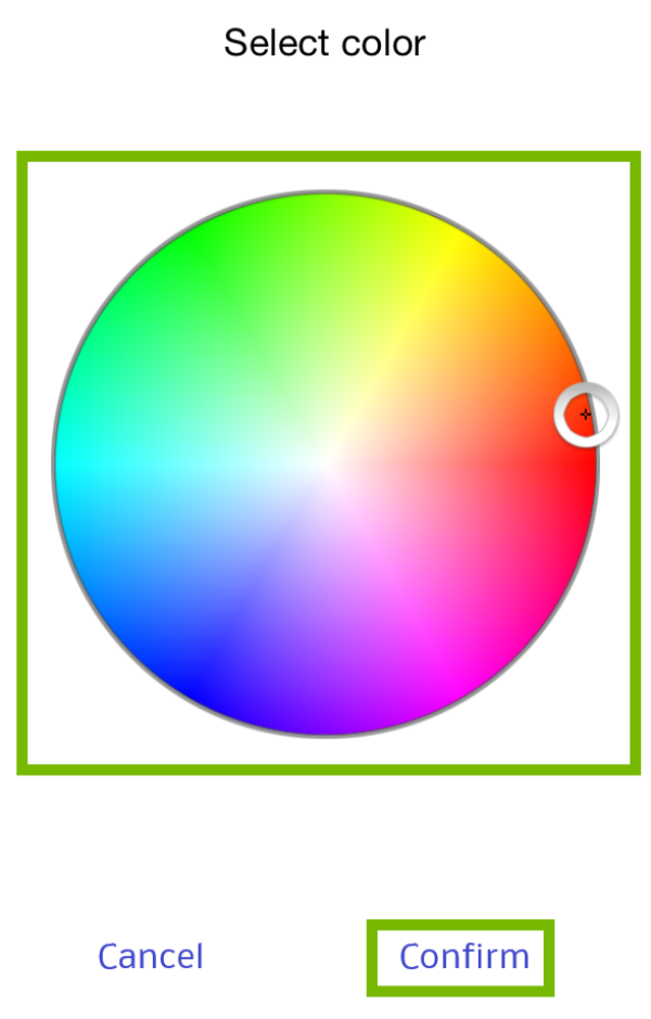 Color Wheel and Confirm highlighted