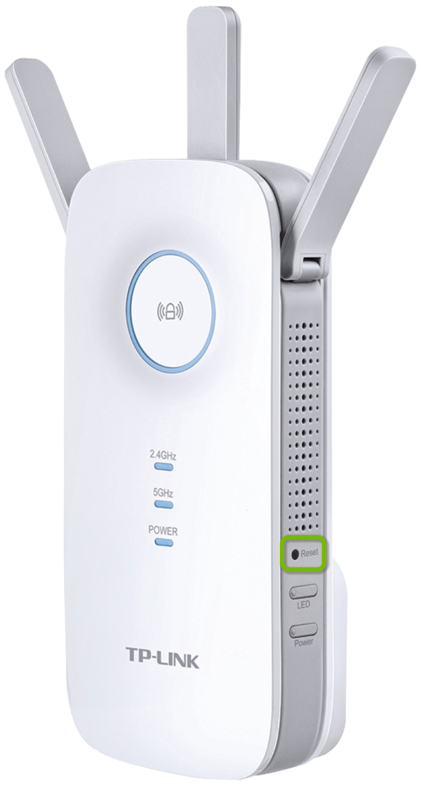 Pinhole with reset button highlighted on side of TP-Link range extender.
