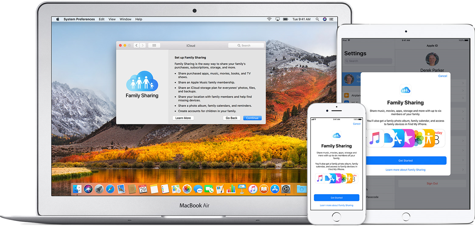 A Mac, iPad, and iPhone showing the Family Sharing page
