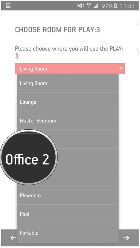 Sonos app selecting a room name from the dropdown box.