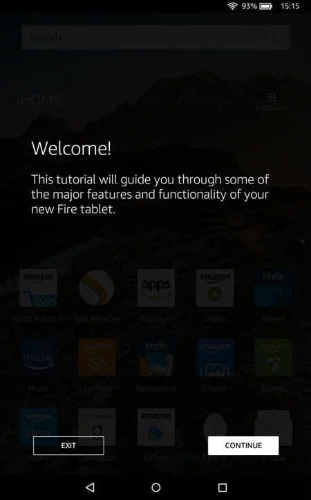 Welcome screen of Amazon Fire tablet tutorial.