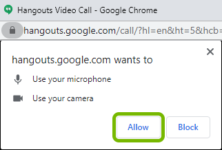 Allow button highlighted on Google Chrome prompt asking for permission to use camera and microphone for Hangouts.