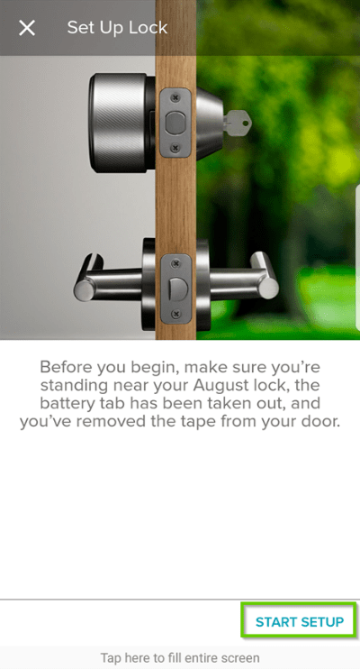 August home app set up lock screen highlighting the start setup button