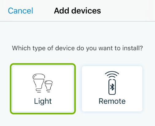 Light button highlighted in device type selection screen of WiZ app.