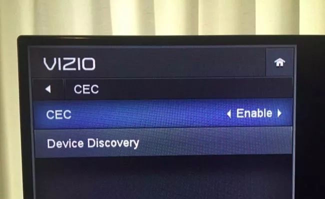 HDMI-CEC feature enabled in TV settings.