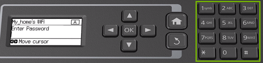 Printer control panel highlighting the numberpad to be used for entering your Wi-Fi password.