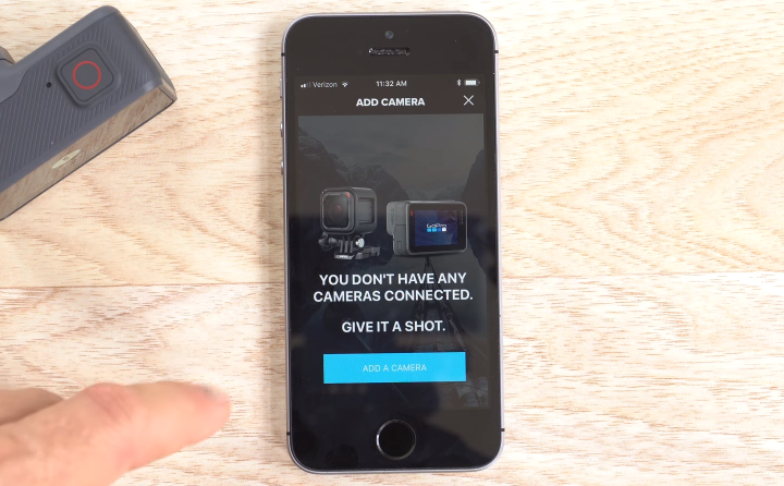 GoPro app with the add a camera button highlighted.