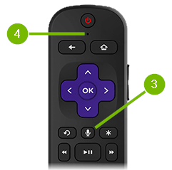 Microphone placement and microphone button pointed out on remote control.