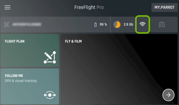 Wi-Fi symbol highlighted in FreeFlight Pro app.