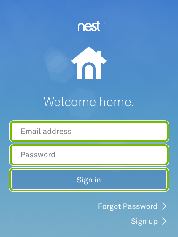 Email and password fields, and Sign In button highlighted in Nest app.