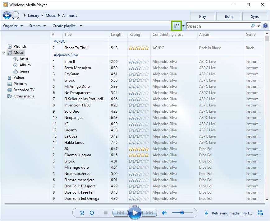 Windows media player view button.