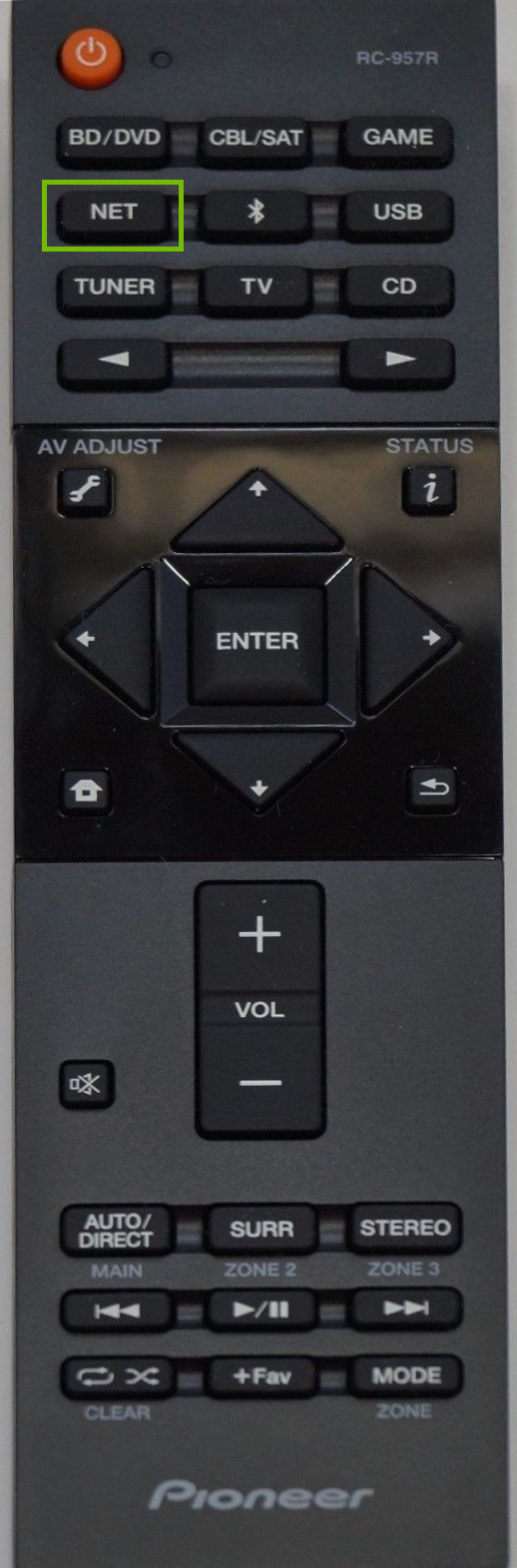 Remote with NET button highlighted