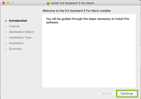 DJI Assistant installer  with Continue highlighted. Screenshot