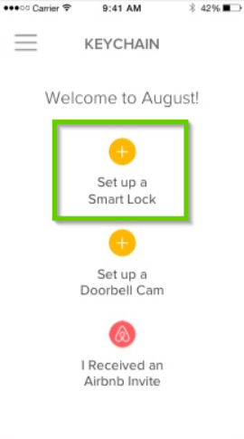August home app highlighting the set up a smart lock button highlighted