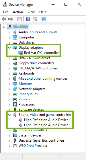 Device Manager with indicated sections expanded.