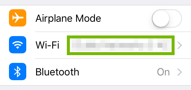 Settings menu with connected Wi-Fi network highlighted.