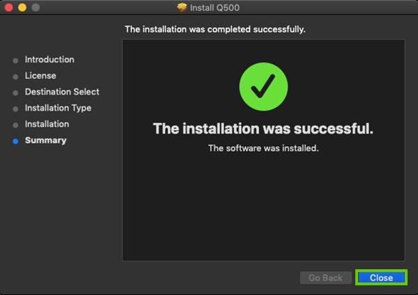 Closing the installer